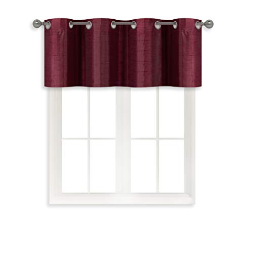 Home Queen Grommet Room Darkening Curtain Valance Window Treatment for Living Room, Short Straight Drape Valance, 52 X 18 Inch, Burgundy