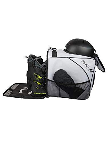 Driver13 ® Skischuhtasche Skistiefeltasche mit Helmfach für Hart Softboots Inliner und Bootbag Tasche weiß