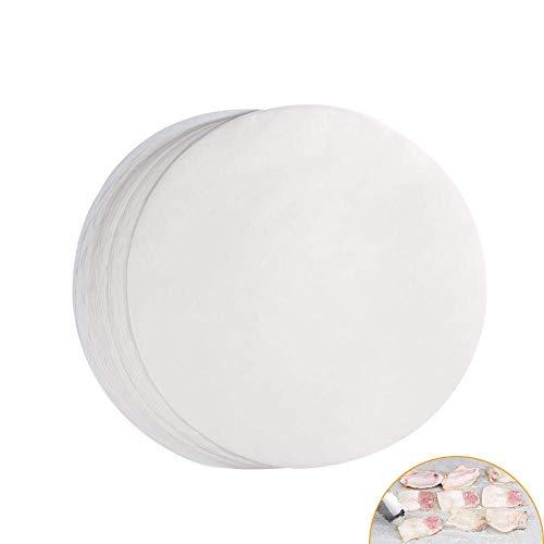 Delaman® 100PCS Redondas Parrilla Antiadherente Papel Barbacoa Matte para Barbacoas Hornear, Diámetro 26 cm