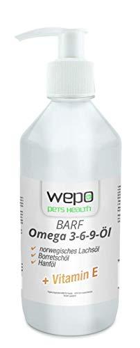 WEPO 3-6-9 Barf Hunde-Öl Premium-Qualität - 100% natürliches Omega 3 6 9 Fell- Haut- Haar- Öl 500ml