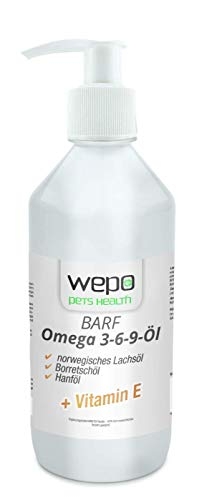WEPO 3-6-9 Barf Hunde-Öl Premium-Qualität - 100% natürliches Omega 3 6 9 Fell- Haut- Haar- Öl 500ml (36,98 € / l)