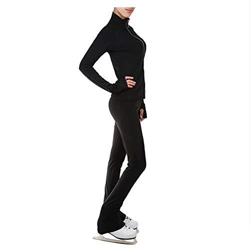 Vlies Eiskunstlauf Trainingsanzüge Mädchen Damen Eislaufgamaschen Warme Jacken Skating Übungsoutfit,Schwarz,XXXL