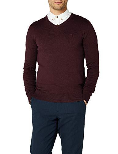 TOM TAILOR Herren Basic V-Neck Pullover, Rot (Dark Berry Red Melange 4778), M