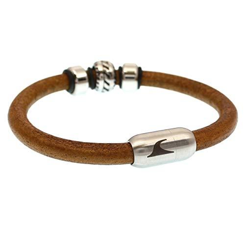 WAVEPIRATE® Echt Leder-Armband Steel R Cognac/Silber 23 cm Edelstahl-Verschluss in Geschenk-Box Surfer Männer Herren
