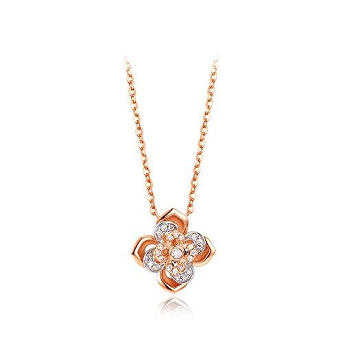 Daesar Collana Donna 18K Oro Rosa Collana Donna Diamante Ciondolo Donna Fiore di Pesco Collana in Oro Rosa Catena Lunghezza: 45CM