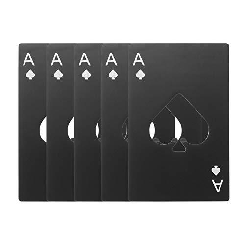 Casino-Flaschenöffner, Yerwal, Edelstahl, Kreditkartengröße, Schwarz, Casino-Flaschenöffner für Ihre Geldbörse schwarz