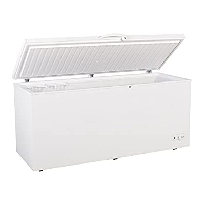 "Maxx Cold 71.3"" Wide Solid Hinged Top Commercial Sub Zero Chest Freezer Locking Lid NSF Garage Ready Keeps Food Frozen for 2 Days in Case of Power Outage, 19.4 Cubic Feet 549 Liter, White"