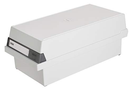 HAN Karteikasten A6 956-11 für 1.300 Karten, quer – Karteikartenbox in Lichtgrau mit großem Schriftfeld & inkl. 2 Stützplatten - simpel Ordnung halten