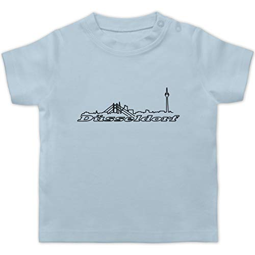 Städte & Länder Baby - Düsseldorf Skyline - 6/12 Monate - Babyblau - Nordrhein-Westfalen - BZ02 - Baby T-Shirt Kurzarm