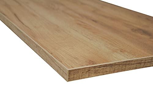 POKAR Piano di Tavolo per Scrivania, Tavolo da Pranzo, Tavolino da caffè, Tavolo da Cucina, Roble Artesanal Dorado, 160 x 80 x 2,5 cm
