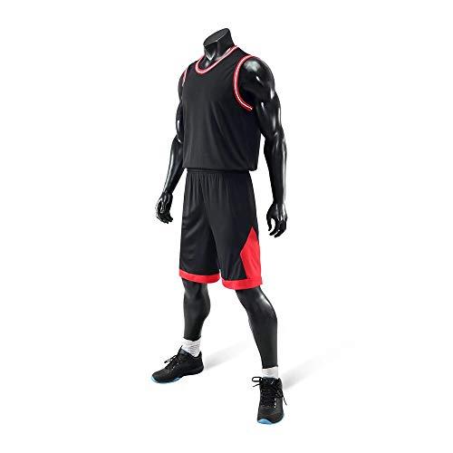 Conjunto de Camiseta de Baloncesto, Camiseta de Baloncesto para Hombres, Camisa de Deporte sin Mangas y Pantalones Cortos de Baloncesto, Adecuado para Estudiantes/Hombres/jóvenes/niño 2XL Negro