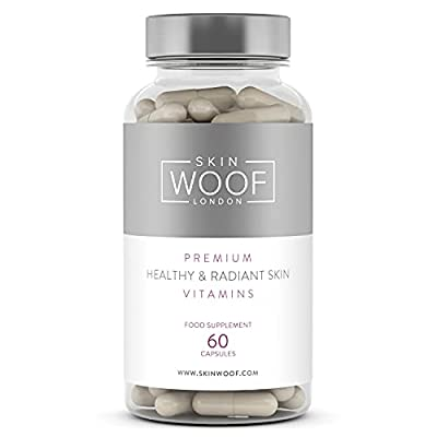 Skin Woof Natural Supplement for Healthy, Radiant and Beautiful Skin   Contains Vitamins A, C & E, Minerals, Collagen and Hyaluronic Acid - One Month Supply - 60 Capsules by Skin Woof