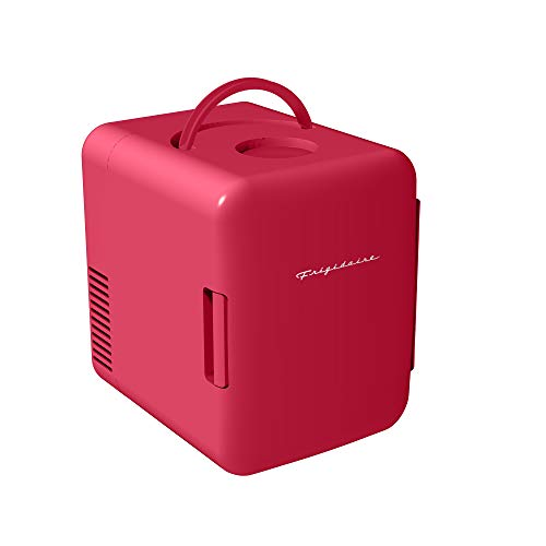 Frigidaire Mini Portable Compact Personal Fridge Cools & Heats, 4 Liter Capacity Chills Six 12 oz Cans, 100% Freon-Free & Eco Friendly, Includes Plugs for Home Outlet & 12V Car Charger - Red