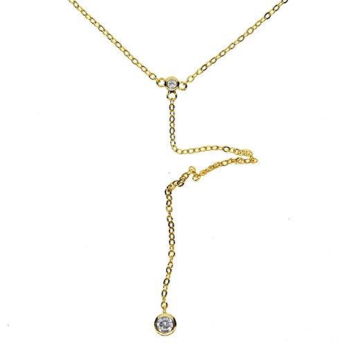 einfacherSchmuck Goldfarbe zarte lange Lariat Y LünettezweiY Halskette