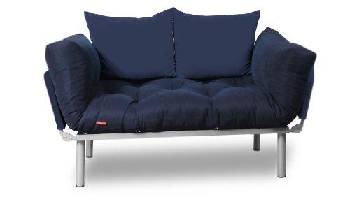 EasySitz Schlafsofa Sofa 2 Sitzer Kleines Couch 2-Sitzer Schlafsessel für Zweisitzer Personen Mein Futon Sitzen EIN Einer Farbauswahl (Marineblau & Marineblau)