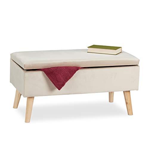 Relaxdays Sitzbank mit Stauraum, Samtbezug, 40 L, gepolstert, Holzbeine, Flur, 2er Truhenbank, 41 x 80 x 40 cm, Creme
