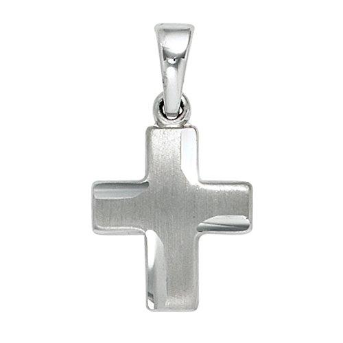 Chaîne avec pendentif en forme de croix en argent sterling 925 ø env. 16 x 11 mm, mailles argent sterling 925 partiellement dépoli 1,3 mm