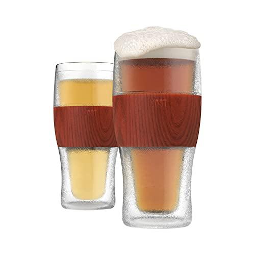 Host Freeze Beer Glasses, 16 ounce Freezer Gel Chiller Double Wall Plastic Frozen Pint Glass, Set of 2, Wood