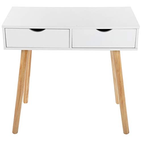 Les-Theresa Writing Computer Desk Modern Laptop Dressing Table Workstation 2 Storage Drawers for Home Office