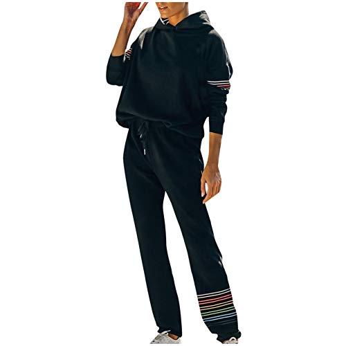 DAY8 Tute Donna Invernali Felpate Sportive Taglie Comode Tuta Donna Sportiva Completa Invernale Elegante Manica Lunga con Tasche Cappuccio Felpa + Pantaloni Maniche a Righe (Nero, L)
