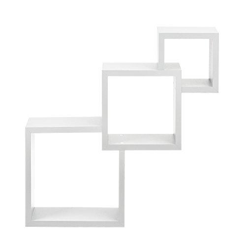 [en.casa] Étagère Murale de Style Blanc Mat Design rétro