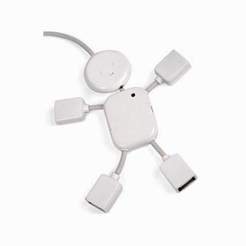 Hilai weißen 4 Port High Speed USB 2.0 / USB 1.1 'Smiley' Hub Man für den Einsatz mit Desktops/Laptops/Notebooks/Netbook/iMac/MacBook