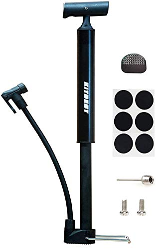 Kitbest Bike Pump, Mini Portable Bicycle Tire Pump, 130 Psi Bike Air Pump Fits Presta & Schrader Valve, Comes with Glueless Puncture Kit, Gas Ball Needle for All Bikes, MTB, Hybrid and Balls
