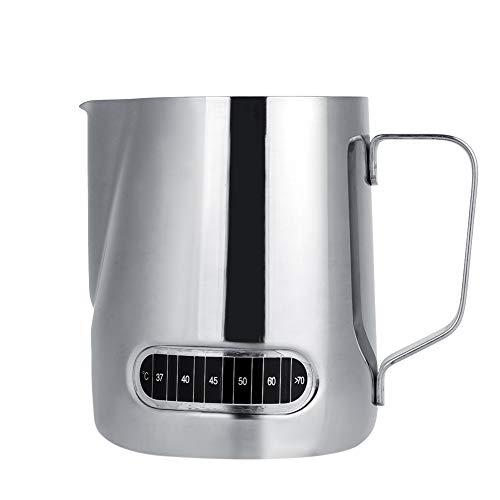 HERCHR Jarra de Espuma de Leche de 600 ml/20 oz con termómetro, Taza de Espuma de Leche de Acero Inoxidable para café Latte...