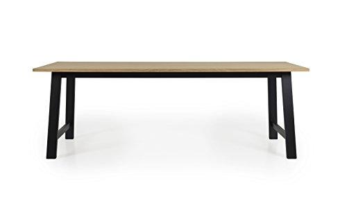 Tenzo 2782-054 Lex Designer Table de Salle à Manger rectangulaire, Noir, Plateau recouverts de placage chêne. Pieds en Panneaux MDF laqués et Bouleau Massif, 75 x 220 x 90 cm (HxLxP)