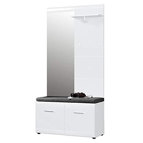Preisvergleich Produktbild Germania 2-tlg. Garderoben-Set 8552-84,  bestehend aus Garderobe und Sitzkissen,  in Weiß