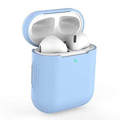 Airpods Case Cover Compatible with AirPods 2&1, KOKOKA Silicone Shockproof Airpods Case Cover [Front LED Visible][Support Wireless Charging]-Sky Blue by Kokoka