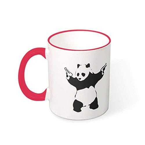 OwlOwlfan Taza de cerámica con diseño de panda con pistolas de colores, taza de café personalizada, taza de té con asa para el hogar, oficina, cumpleaños, regalo para niños y niñas, rojo 1 330 ml