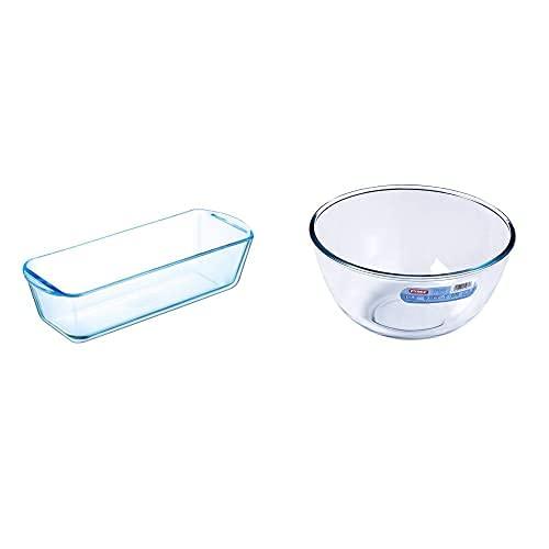 Pyrex Classic - Molde plum-cake, 31 x 12 cm, 1.7L + Classic - Bol de vidrio para mezclas de 3 litros