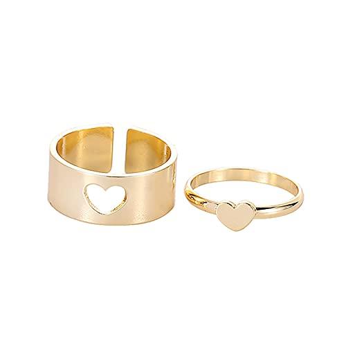 minjiSF Par de anillos a juego para mujer, anillos clásicos, joyas, alianzas, alianzas de boda, anillos de amistad, anillos de compromiso, anillos de compromiso (oro3)