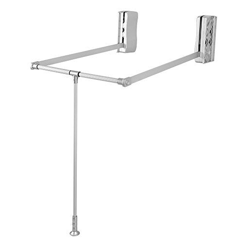 Pull Down Closet Rod Soft Close for Hanging Clothes, Heavy Duty Wardrobe Lift Hanger Clothing Rail Alumina Closet Storage System Organizer Soft Return Space Saving (Adjustable Width 19.29-25inch)