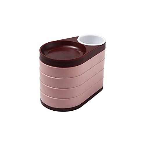 XIAOFANG Caja de Almacenamiento de Joyas Damas Joyas Caja de Almacenamiento Pendiente Clip de 5 Capas Caja de joyería de Viaje Giratorio para Collar de Pulsera (Color : Pink)