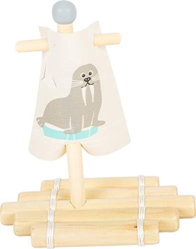 small foot 11660 Wasserspielzeug Floß Walross aus Holz, Badespielzeug fürs Wasser, für Kinder ab 24 Monaten Spielzeug