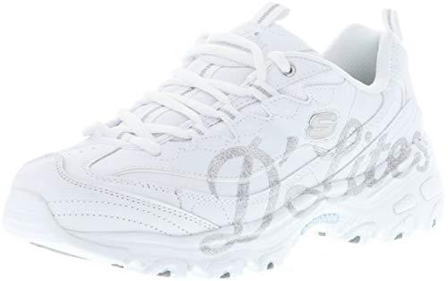 Skechers 13165/WSL D'Lites-Glitzy City Damen Sneaker weiß/Silber/Glitzer, Größe:38, Farbe:Weiß