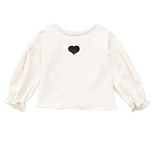 Longra baby meisjes T-shirt, hart, bedrukt, zacht, lange mouwen, T-shirt, meisjes, zacht, bamboetops, overhemd, baby, lange mouwen, chique, kant, casual blouse