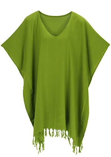 Beautybatik Avocado Green Womens Tunic Blouse Kaftan V Neck Top Plus Size 4X