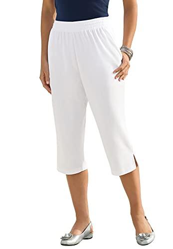 Roamans Women's Plus Size Soft Knit Capri Pant Pull On Elastic Waist - 1X, White