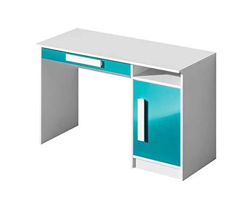 Furniture24 Schreibtisch GULIVER 09 Kinderschreibtisch mit Tür und Schublade Schülerschreibtisch Arbeitstisch (Weiß/Türkis Hochglanz)