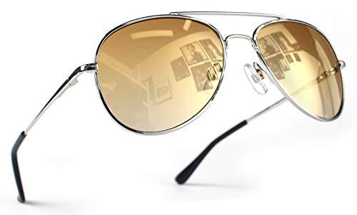 Miobo Hochwertige Pilotenbrille Fliegerbrille Sonnenbrille verspiegelt (Damen und Herren, Silber Gold)