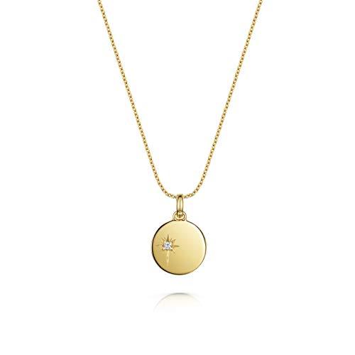 Women's 18ct Gold Vermeil Necklace, Olivia Cooper Goldie Star Cubic Zirconia Disc Pendant, 42cm+5cm, Luxury Jewellery Packaging, Mother's Day Birthday Anniversary Present