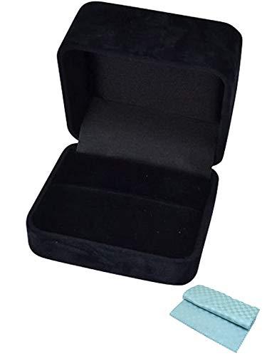 ジュエリーコトブキ 厚みのある 黒ブラック 高級 リング 指輪 ケース しっかり 大きい サイズ 約7.5×6.5×5 (ケース お磨きクロス 2点セット) (外箱付 プレゼント用 ラッピング袋 付)