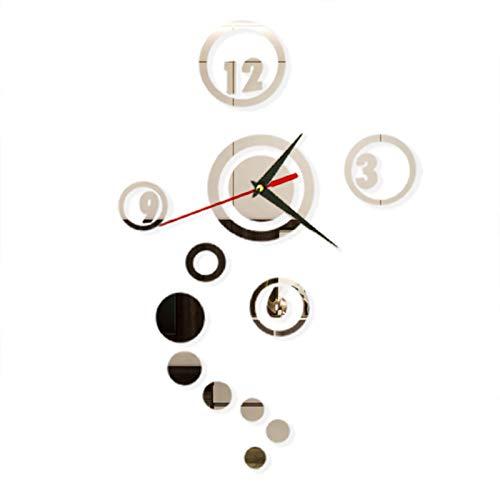 Jiechang - Adesivi da parete in acrilico con orologio 3D, fai da te irregolare, per decorare la casa e la camera da letto