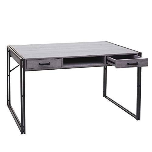 Mendler Schreibtisch HWC-A27, Bürotisch Computertisch, 121x70cm 3D-Struktur ~ grau
