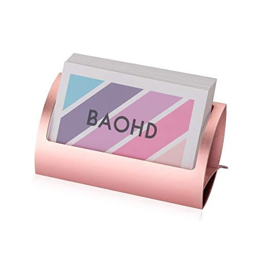 Metal Business Card Holder for Desk, Modern Aluminum Business Card Display Holder Stand, Desktop Name Card Rack Organizer Desk Card Accessory for Office Home (Rose Gold)