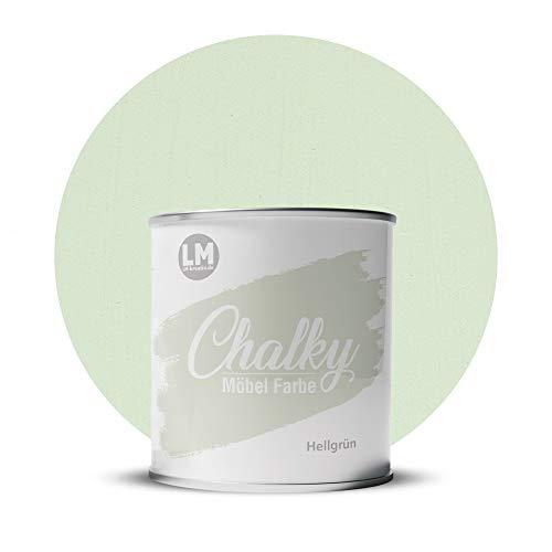 LM-Kreativ Chalky Möbelfarbe deckend 1 Liter / 1,35 kg (Hellgrün), matt finish In- & Outdoor Kreide-Farbe für Shabby-Chic, Vintage, Landhaus Stil