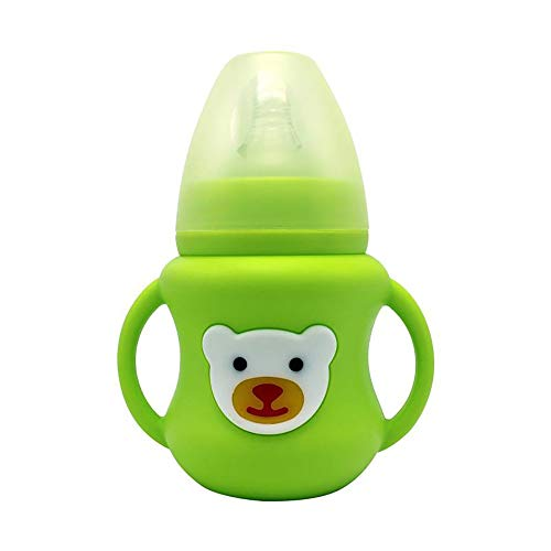 QHLJX Biberon, Etui en Silicone Biberon Infant Grip Handle Avent Natural Large Bouche Alimentation Safe, 150 ML